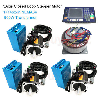 12NM 3Axis Nema34 Closed Loop Stepper Motor Drive+AC900W Transformer+Controller