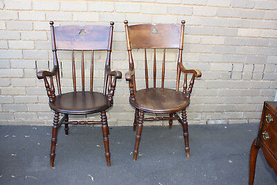 2 large wooden chairs antique defect
