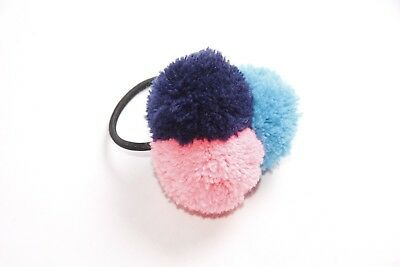 Cute Girly Black Hair Band w Pink Blue&Navy Blue Pompoms (S325)