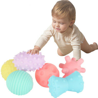 6Pcs Baby Kids Soft Massage Sensory Development Educational Ball Sound Toy Set