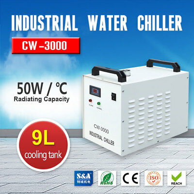 AC220V CW-3000AG Industrial Water Chiller for 60W / 80W CO2 Glass Laser Tube