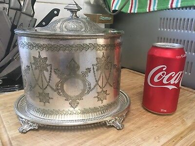 ANTIQUE SILVER METAL COOKIE CONTAINER  c1910