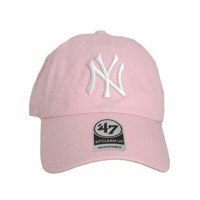 9a7ffef68e3c0d 47 Brand Mlb New York Yankees Clean Up Curved V Relax Fit Cap Pink Men