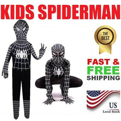 Black SpiderMan Venom Kid Boys Superhero Fancy costume Bodysuit Halloween-US