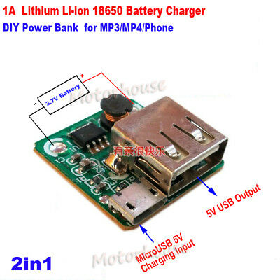 USB 5V  Lithium Li-ion 18650 Battery Charger Micro Module Board DIY Power Bank