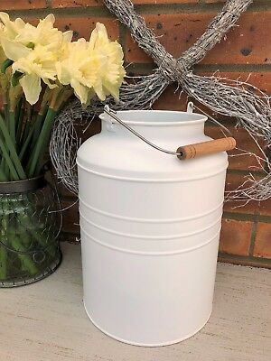Large Antique Vintage French Style Cream Metal Milk Churn Garden Planter Vase