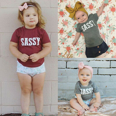 Fashion Kids Toddler Baby Boy Girl SASSY Tops Tee T-shirt Blouse Outfits Summer