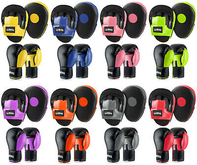 Focus Pads Hook & Jabs and Boxing Gloves Set Mitts MMA Sparring Punching Fight