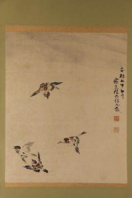 """JAPANESE HANGING SCROLL ART Painting """"Sparrows"""" Asian antique  #E1731"""
