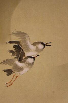 """JAPANESE HANGING SCROLL ART Painting """"Birds"""" Asian antique  #E1740"""