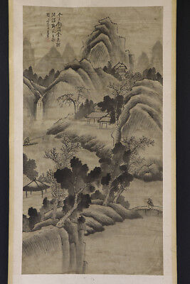 CHINESE HANGING SCROLL ART Painting Sansui Landscape Asian antique  #E1727