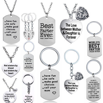 Stainless Steel Heart Pendants Family Love Wish Letters Necklace Gifts Women Men