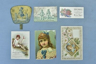 Antique MIXED LOT of 6 ADVERTISING VICTORIAN TRADE CARDS SHAUB BURNS SHOES 05042