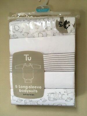 BNWT 0-3 months white long sleeved unisex bodysuits pack of 5 TU Sainsburys