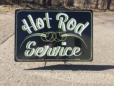 Hand Painted Hot Rod Service Metal Sign Muscle Classic Car Man Cave Gas Station