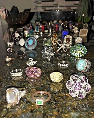 LARGE Costume vintage to modern Ring Lot of 100 Jewelry Junk drawer