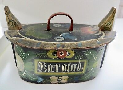 Old Norwegian Tine Box Or Bentwood Box With The Famous Os Rosemaled Pattern
