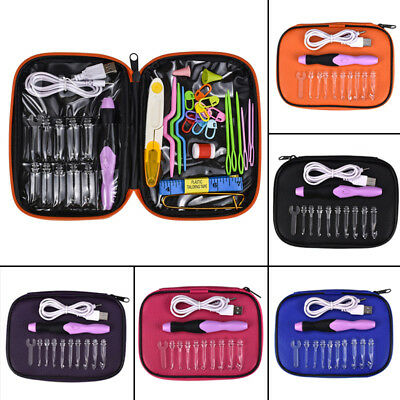 35pcs Crochet Hook Assorted Set Rechargeable Light Up USB Knitting Needle Sewing