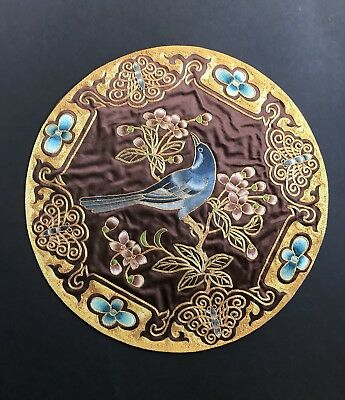 Antique Chinese Silk Embroidery Roundel ~ Bluebird of Happiness Gilt Threads