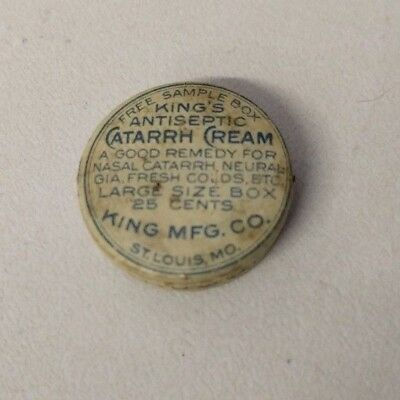 VINTAGE KING'S ANTISEPTIC CATARRH CREAM METAL TIN (with Product)