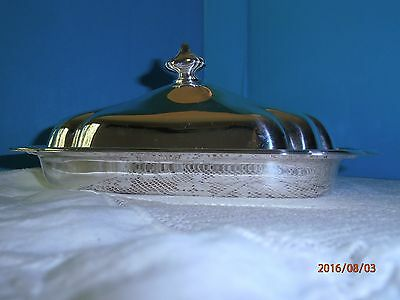 Gorham Heritage Covered Butter Dish Glass Insert YH18 Scalloped Edge Silverplate