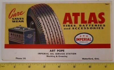 "Rare Canadian ""imperial Oil - Atlas Batteries & Tires"" Advertising Ink Blotter"