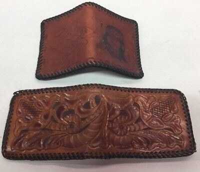 2 Vintage Hand Tooled Leather Mens Wallets Indian Western