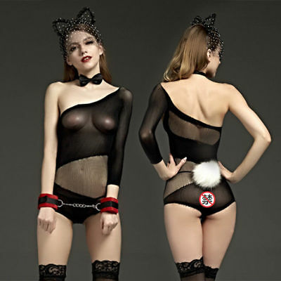 Womens-Sexy-Lingerie-One shoulder-Body stocking-Dress-Underwear-COSPLAY-Babydoll