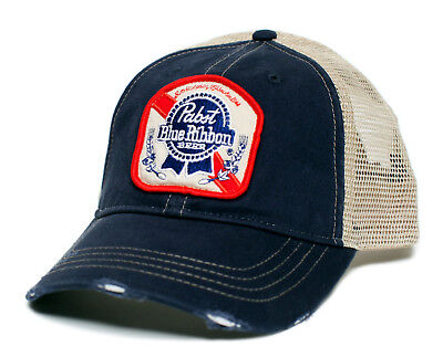 Pabst Blue Ribbon Beer Vintage Applique Truckers Cap Adult Hat Cap Navy/Tan
