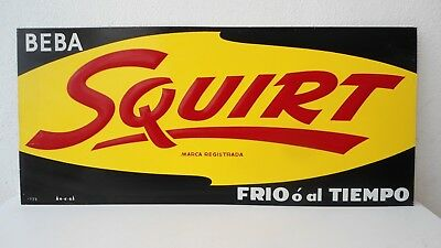 Vintage Tin Sign Squirt Soda 1960s made in Mexico FREE SHIPING to USA !