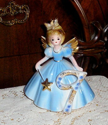 "Vintage Josef Originals Porcelain Birthday Fairy Age 9 Angel 5"" Figurine MINT!"