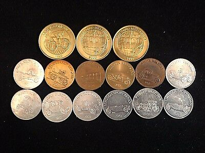 Lot of 15 Vintage Limited Edition Sunoco Car Tokens, Random Years