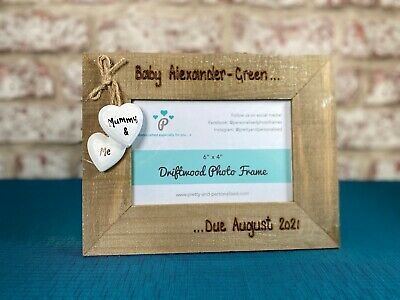 Personalised Photo Frame Driftwood Wooden Baby Scan Picture Due Date Engraved