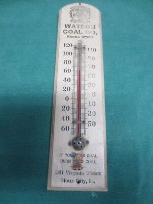 Vtg Wood Advertising Thermometer Watson Coal Co Sioux City IA