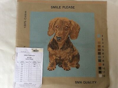 "tapestry canvas SMA  a delightful design of a Dog 10""sq. colour code attatched"