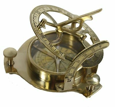Vintage Solid Brass Sundial Compass Hand-Made West London Marine Working Compass