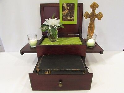 Catholic Altar Home wooden 2 levels personalized portable w/ drawer dark brown