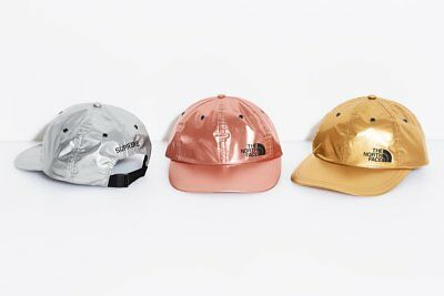 51c39245 SUPREME x The North Face Metallic 6 Panel Silver box logo camp cap tnf S/