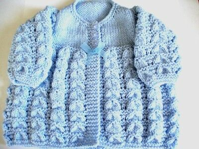 Hand Knitted Babies Blue Matinee Coat - Size 18 inch Chest