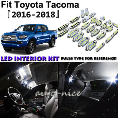 12x White LED Interior Lights Package Kit For 2016 2017 2018 Toyota Tacoma