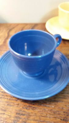 VINTAGE  Fiesta Ware Cup & Saucer  COBALT BLUE Homer Laughlin China 1930's-60's
