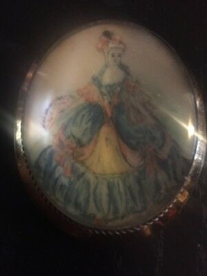 Antique Thomas Mott Crinoline Lady Pin Large