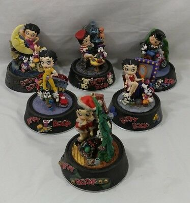 Betty Boop Sculpture Figurines (No Glass Domes) Hand Painted Set of 6