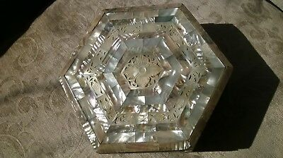 Vintage Hexagon Shaped Mother of Pearl Box with craved Inlay Panels