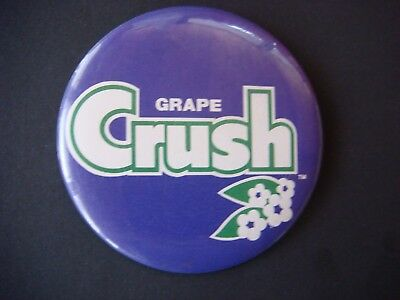 Vintage 1970's Large Grape Crush Pinback Button Like a Small Sign 3.5 Inches