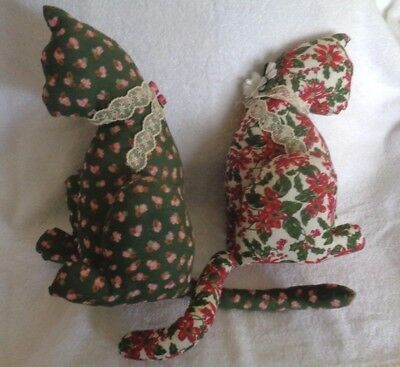 Vintage Handmade Stuffed Cats Lot of 2