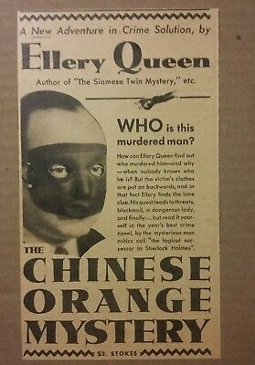 1934 The Chinese Orange Mystery by Ellery Queen Book Ad