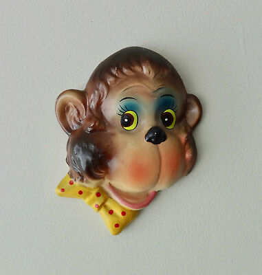 Vintage Anthropomorphic Chalkware Monkey In Yellow Polka Dot Bow Tie Wall Plaque