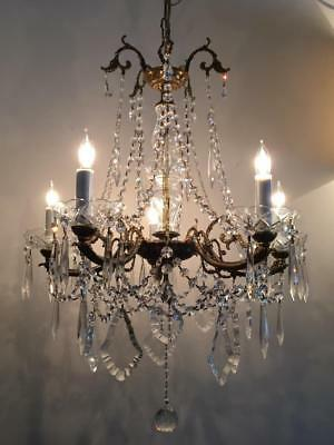 ANTIQUE VTG FRENCH or ITALIAN BRASS & CRYSTAL CHANDELIER LAMP w CZECH PRISMS