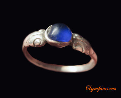 ** AMAZING ** Ancient Roman SILVER ring  ** BLUE ** stone
